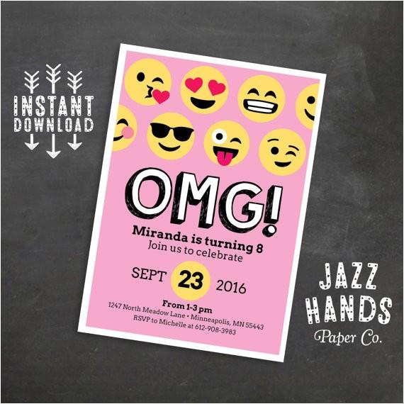 emoji birthday invitation template pink
