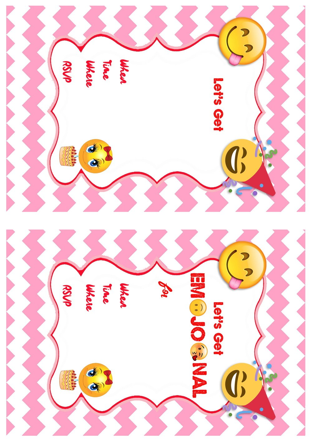 free emoji invitation printables emoji birthday invitation1