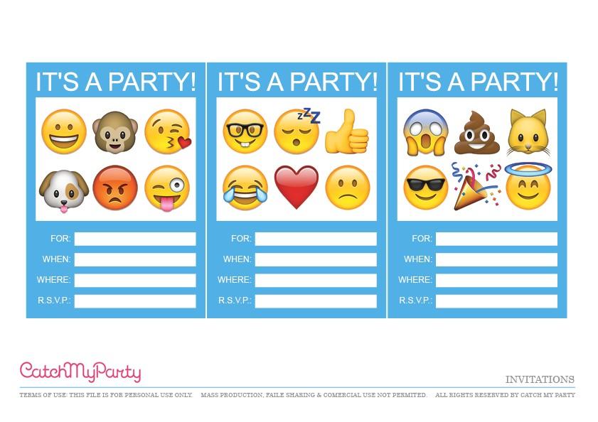 Emoji Birthday Invitations Free Printable Free Emoji Party Printables