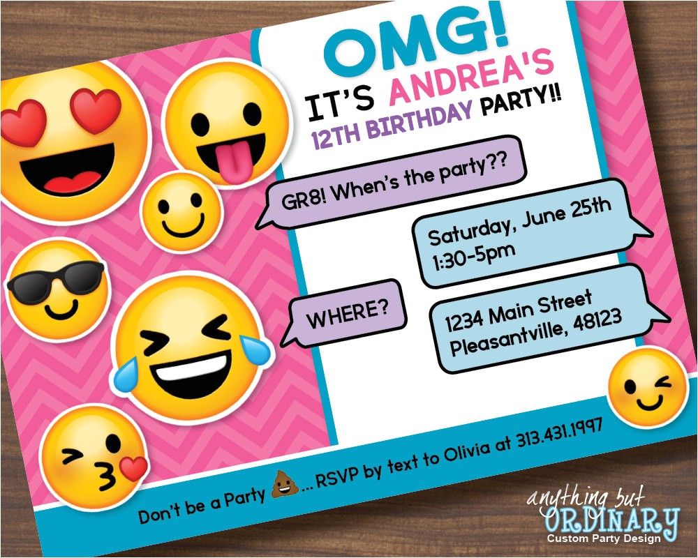 printable emoji birthday party invite