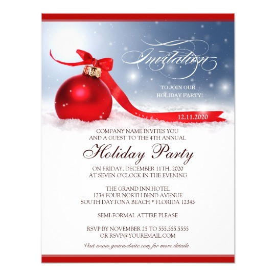 Employee Christmas Party Invitation Examples Corporate Holiday Party Invitation Template Zazzle Com