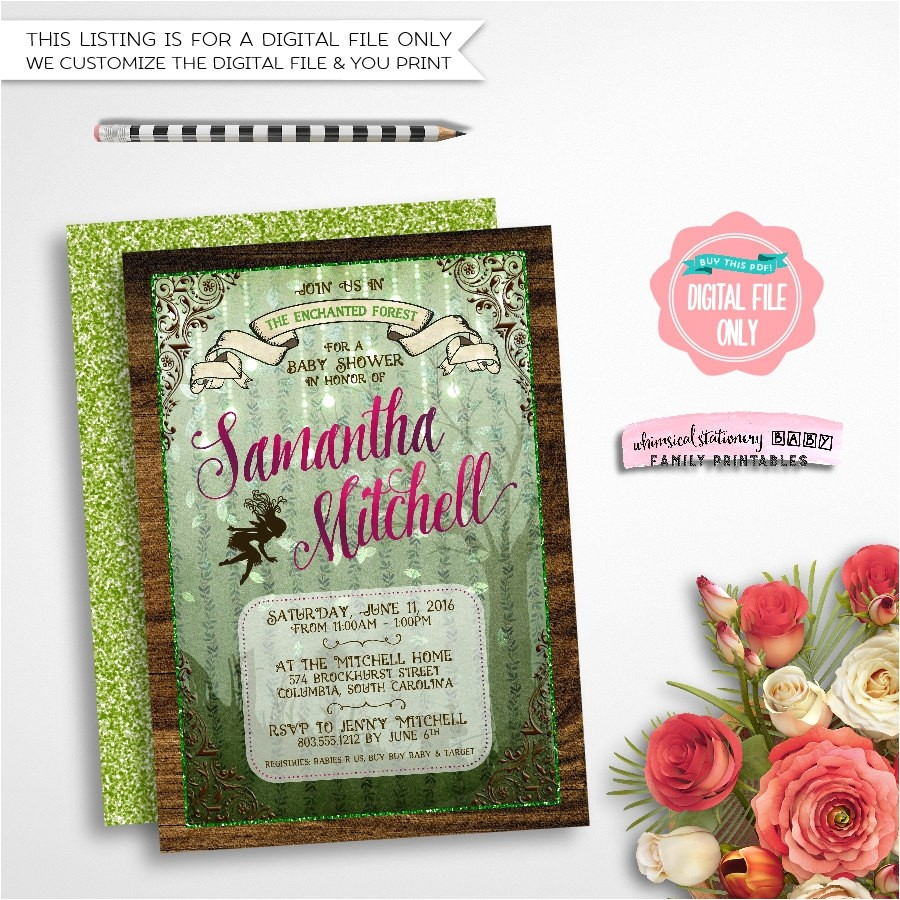 baby shower invitation enchanted forest