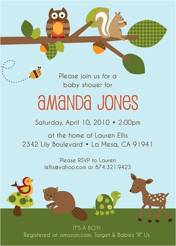 enchanted forest custom baby shower invitation
