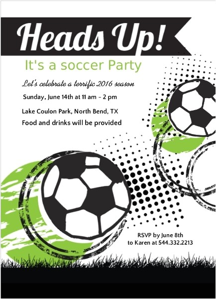 green and black soccer game party invitation