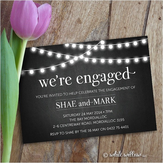 engagement party invitation etsy shopwhitewillowpaper