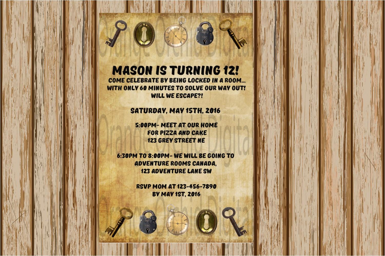escape the room birthday invitation
