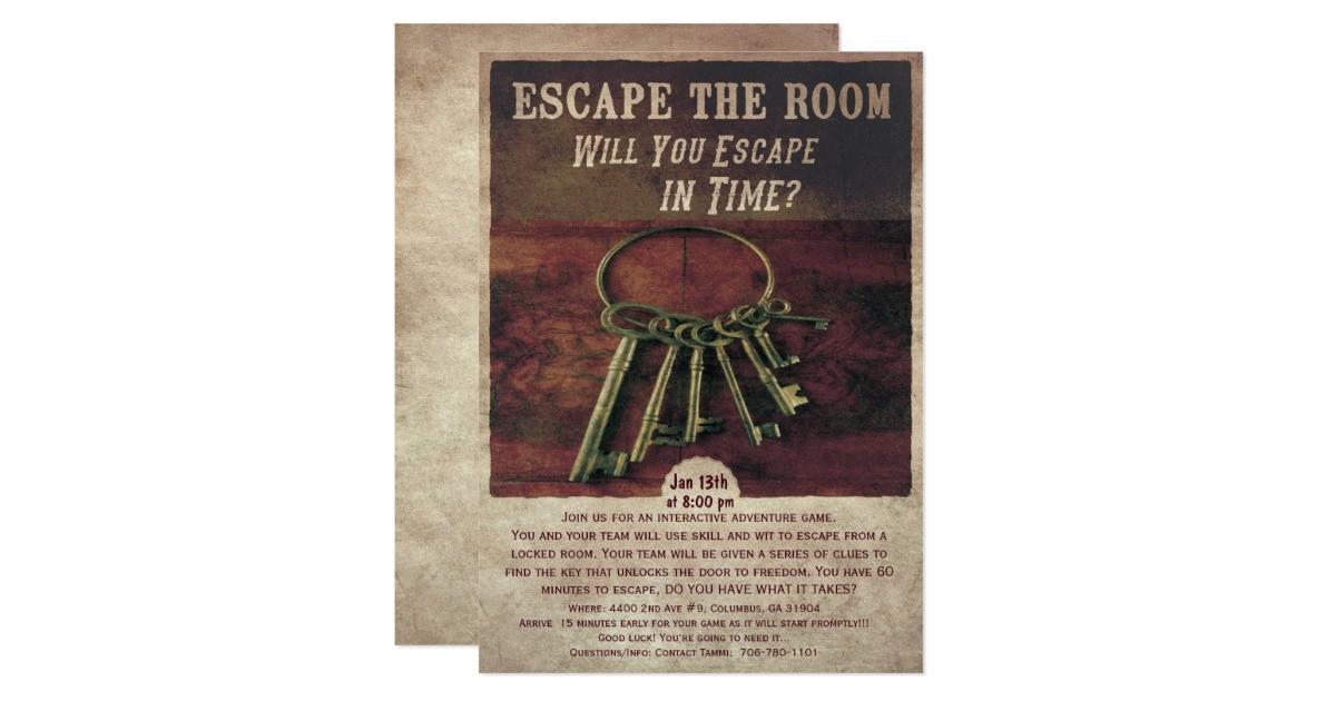escape the room invitation