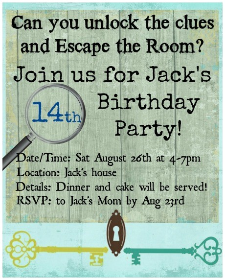 escape room birthday party