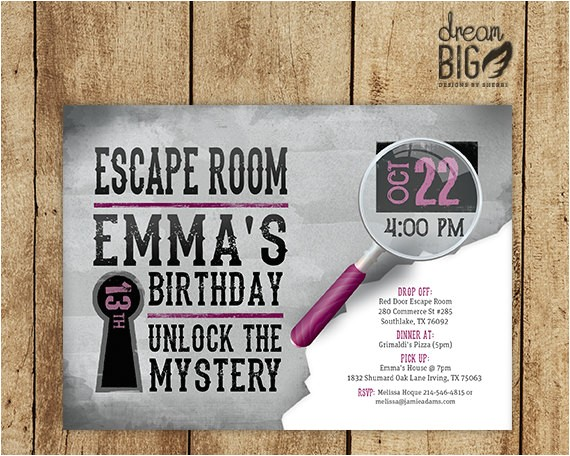 escape room invite gray girls or boys
