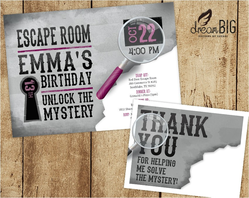 escape room invite plus thank you card