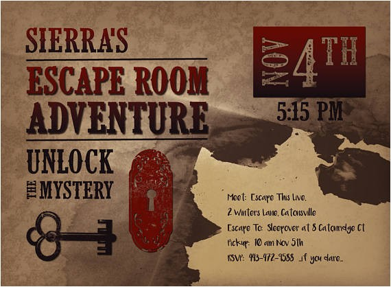 printable escape room party invite
