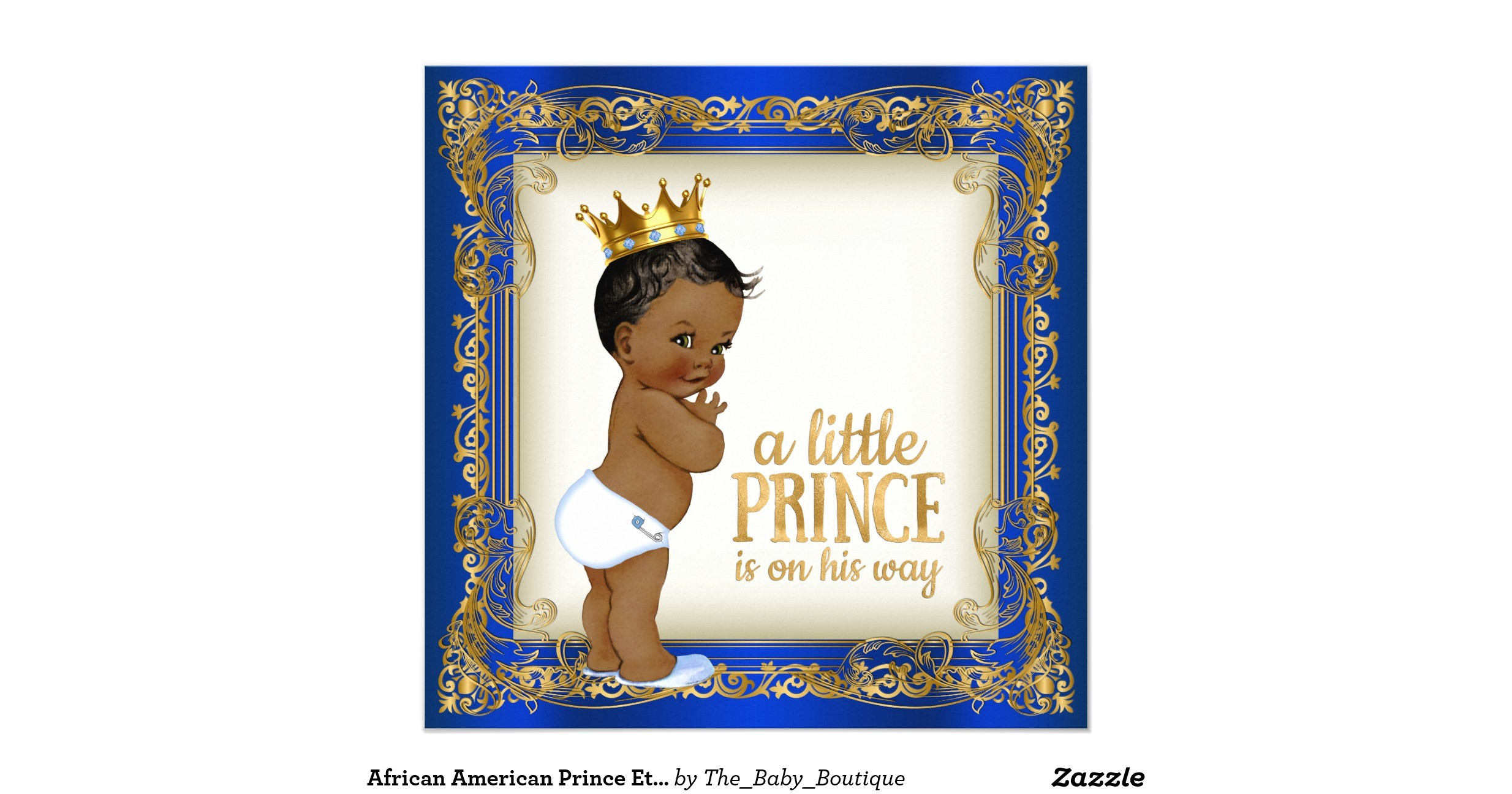 african american prince ethnic boy baby shower invitation
