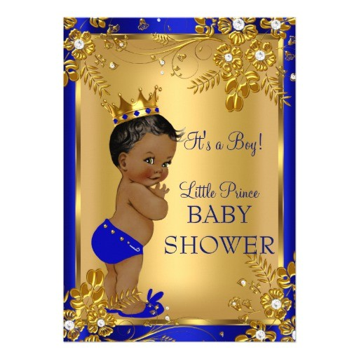 ethnic prince boy baby shower gold blue floral invitation