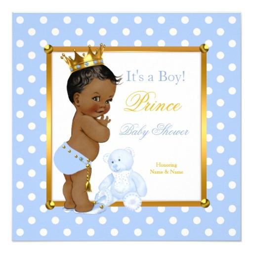 prince baby shower boy blue polka dot ethnic invitation