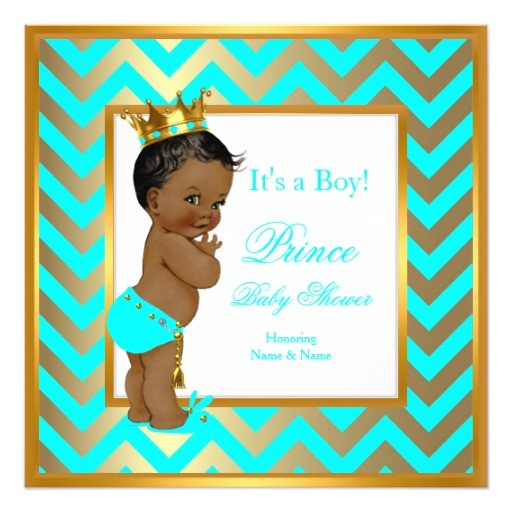 prince baby shower boy gold teal blue ethnic invitation