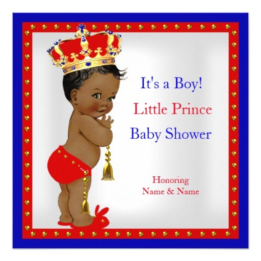 prince baby shower red white blue boy ethnic invitation