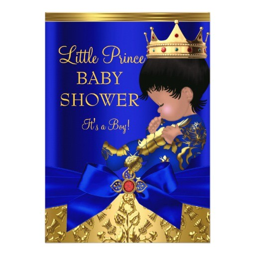 royal blue red gold prince boy baby shower ethnic invitation
