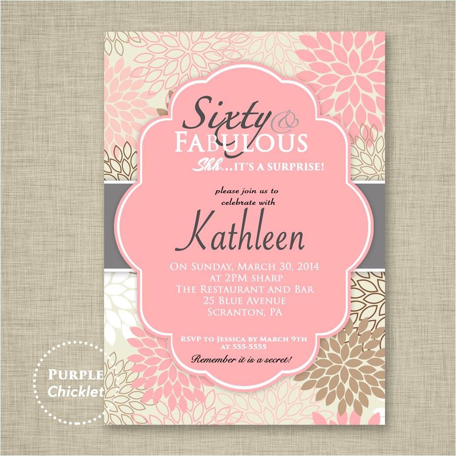 pink 60th birthday invitation sixty and