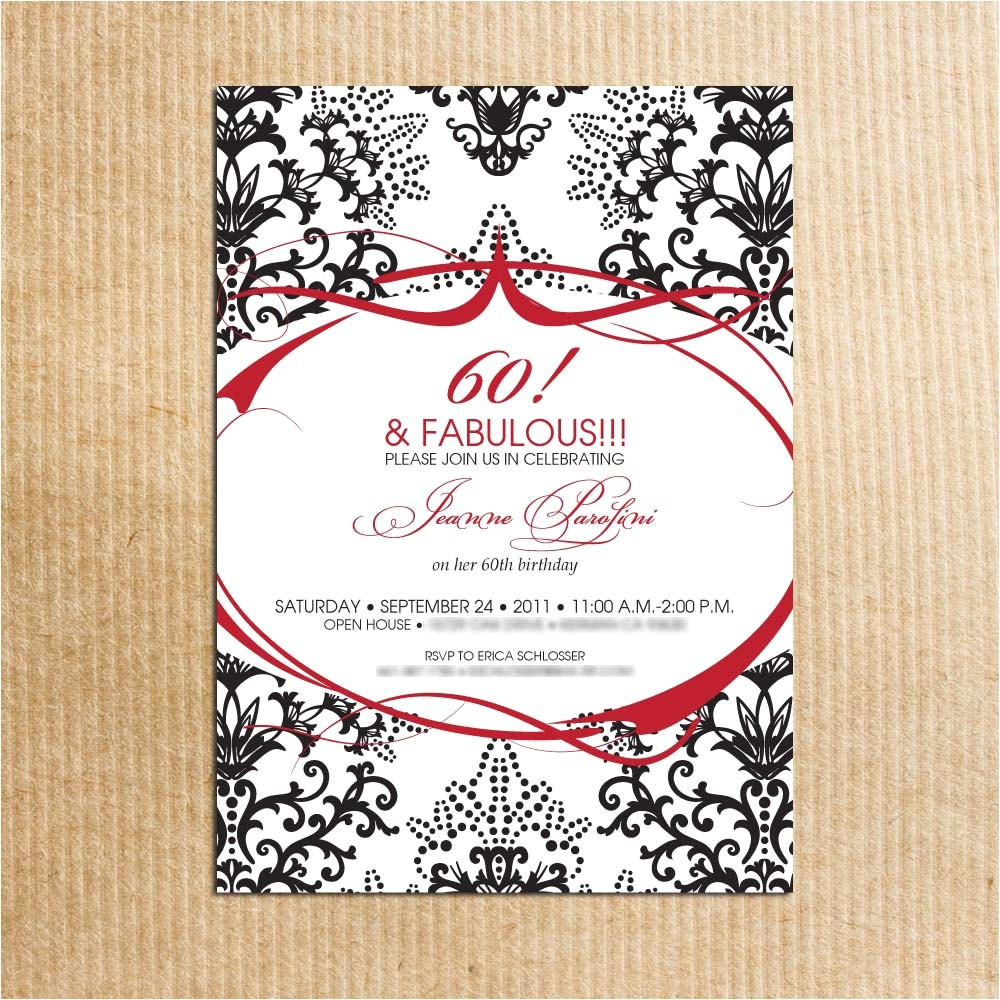 red black damask 60th birthday party