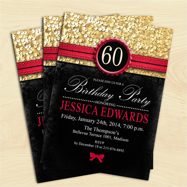 women 60th birthday invitation 70th 80th