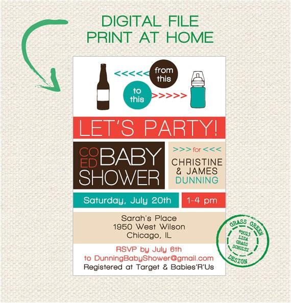 printable co ed baby shower beer bottle