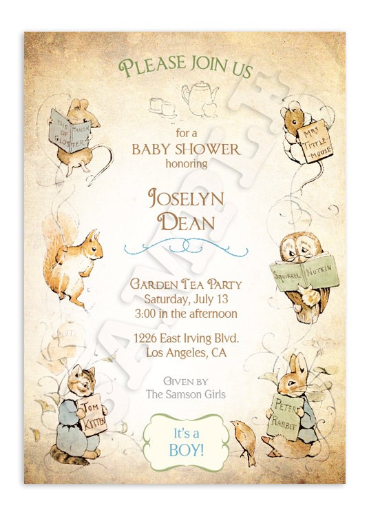 Etsy Com Baby Shower Invitations Beatrix Potter Baby Shower Invitation by ashwooddesignco