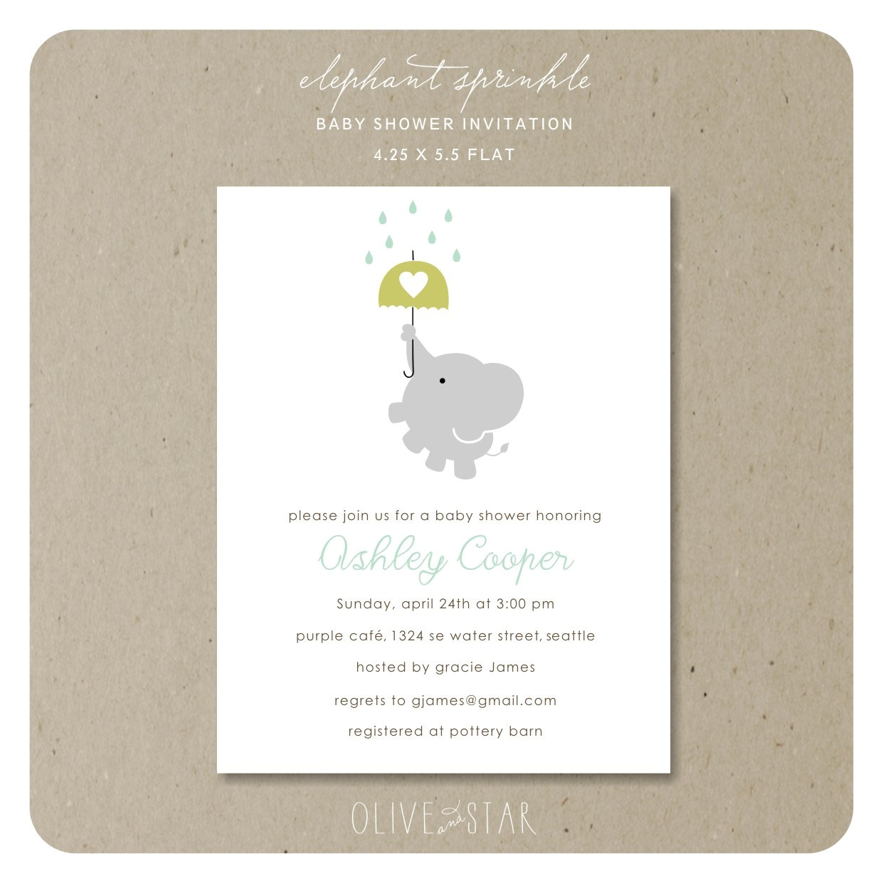 elephant sprinkle baby shower invitation