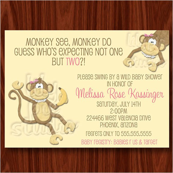 twin girls monkey baby shower invitation