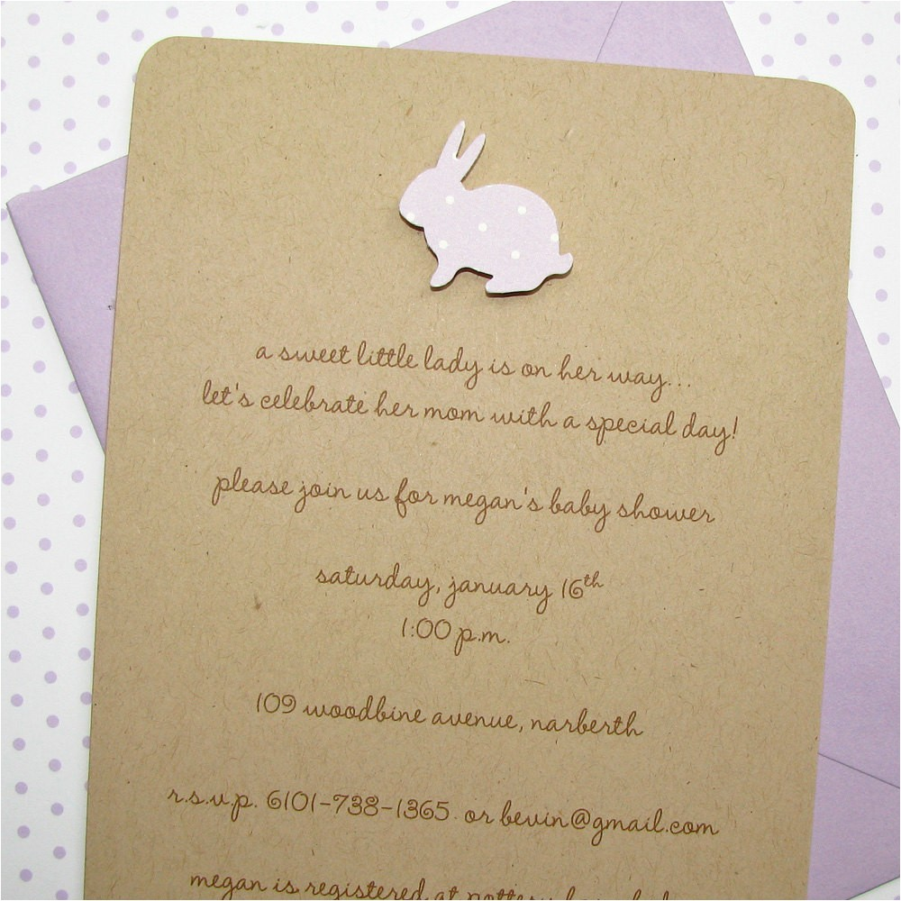lilac bunny baby shower invitations