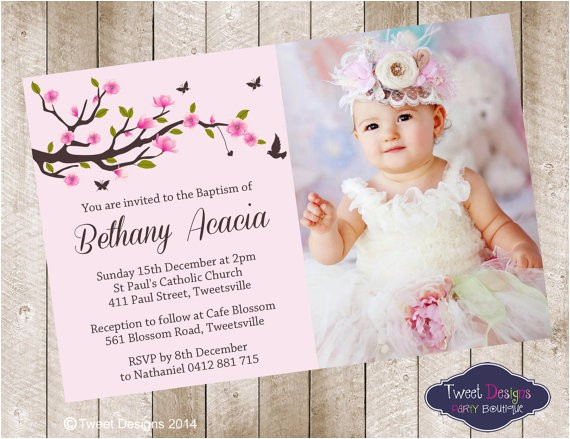 christening invitation girl baptism