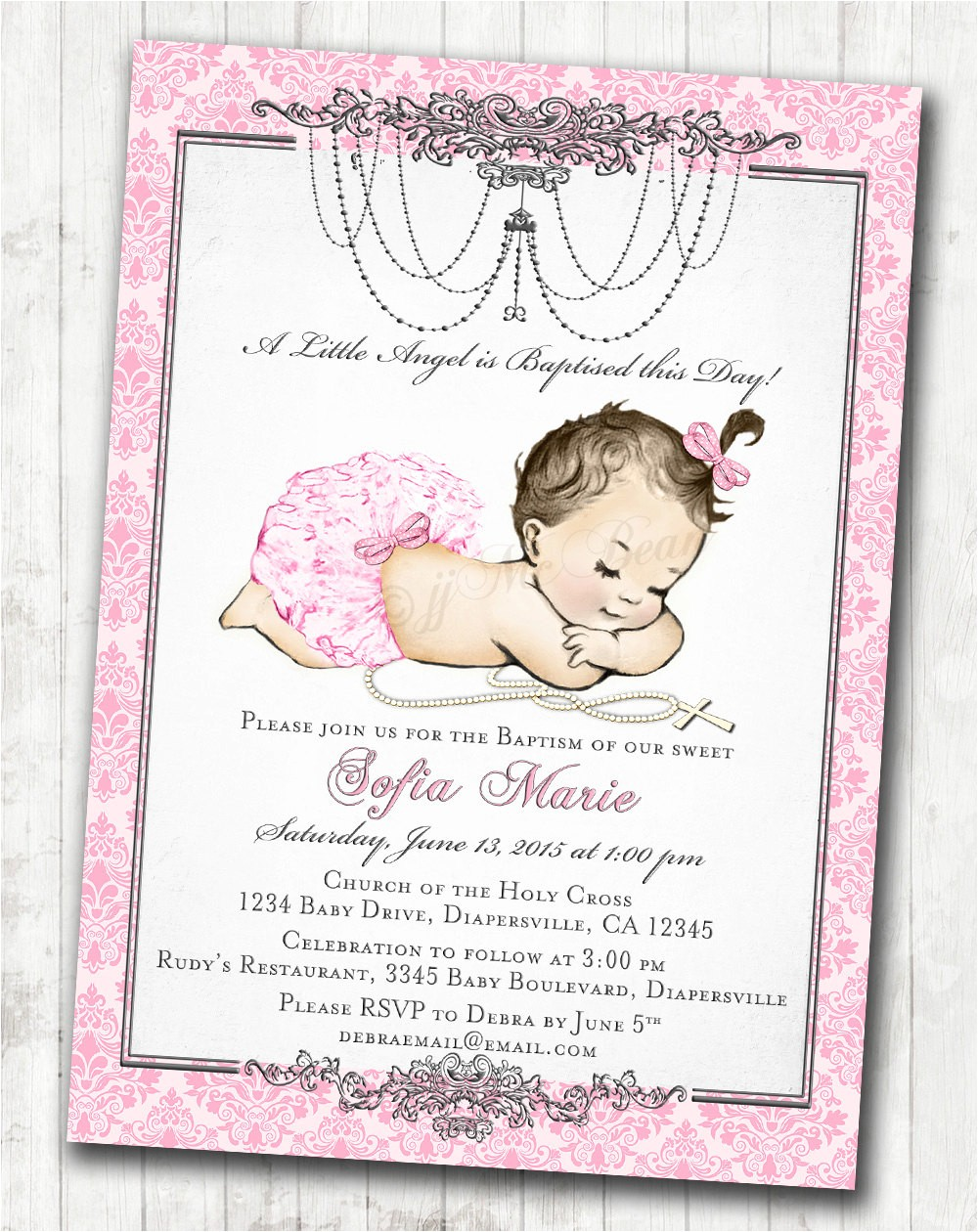 vintage christening invitation christening invitations for girl christeningjjmcbean on etsy