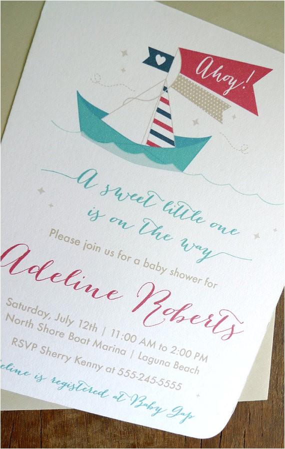 nautical baby shower invitations paper