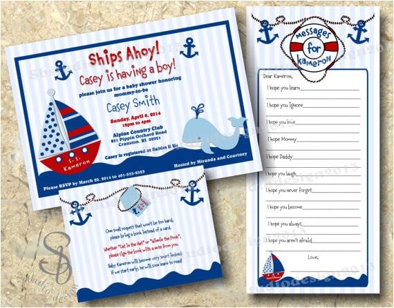 nautical baby boy shower invitation set
