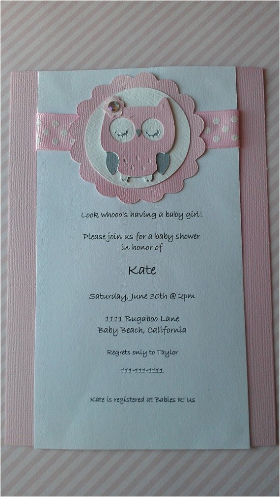 owl theme baby shower invitation