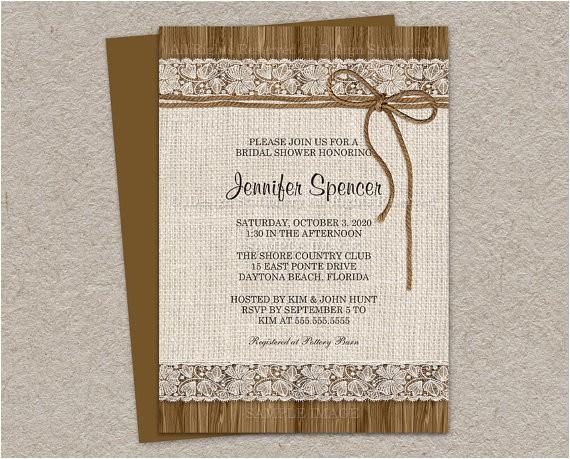 rustic bridal shower invitation burlap