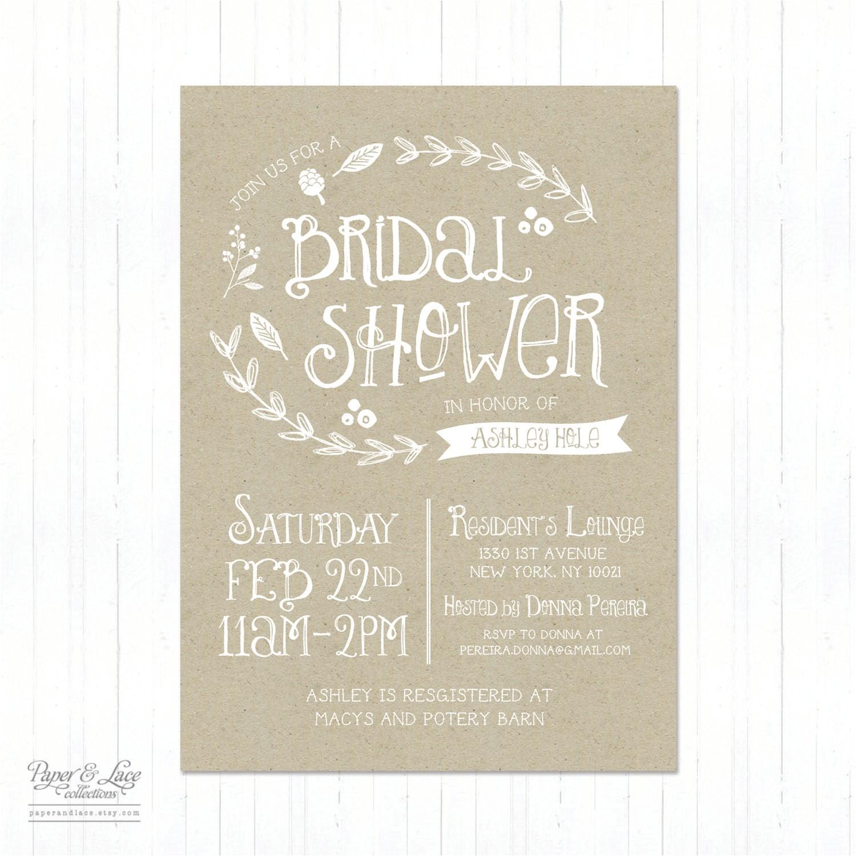 Etsy Rustic Bridal Shower Invitations Rustic Bridal Shower Invitations