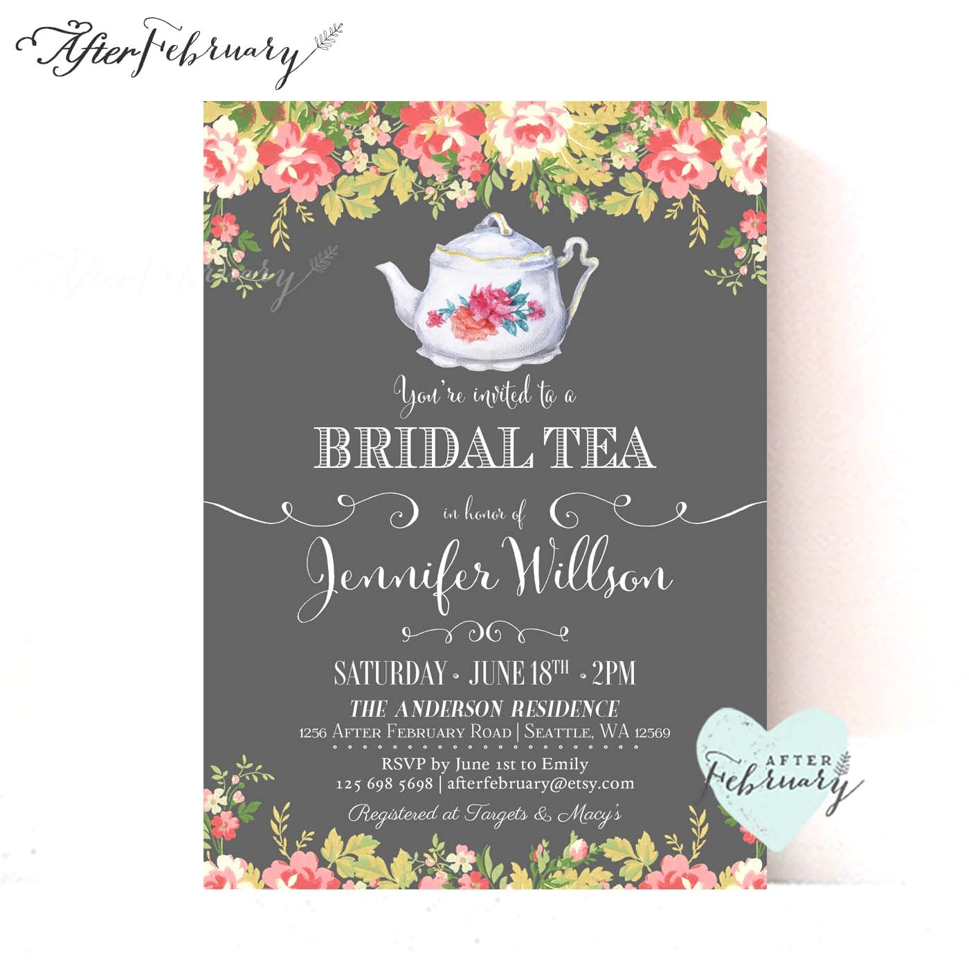etsy party invitations bridal shower tea party invitations bridal shower tea party