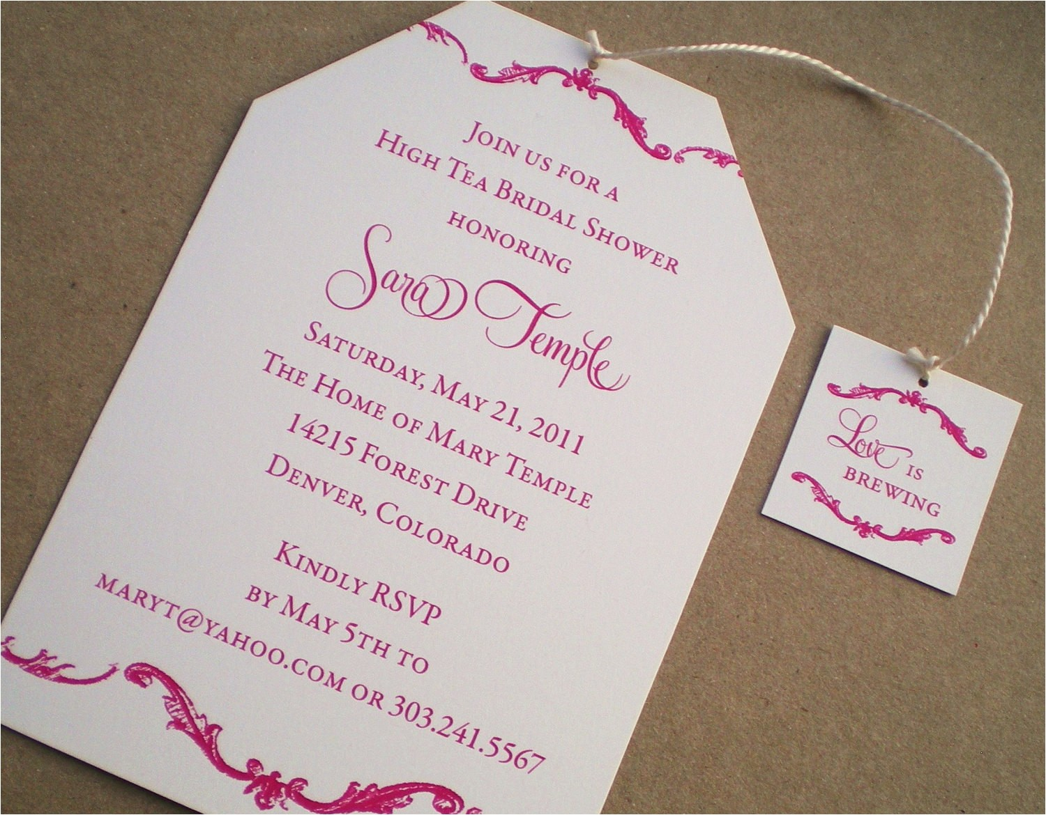 high tea bridal shower invitations
