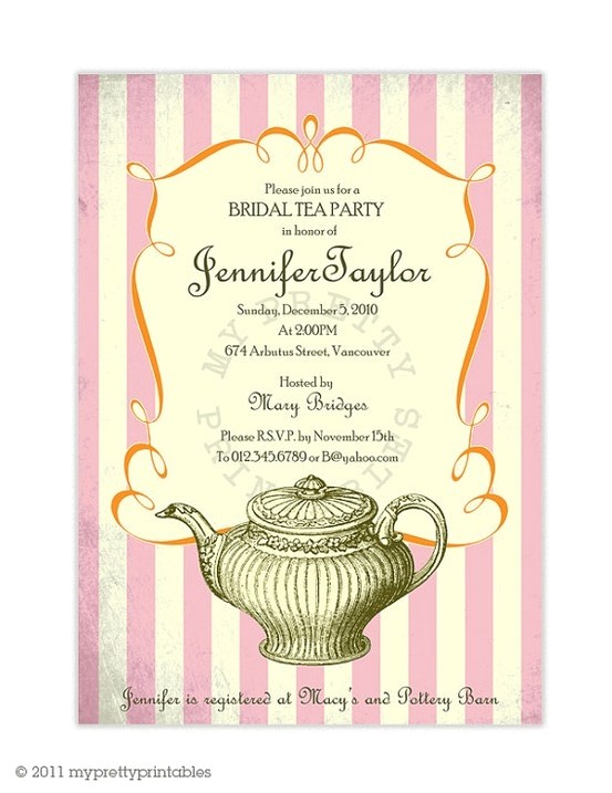 vintage bridal tea party invitation b