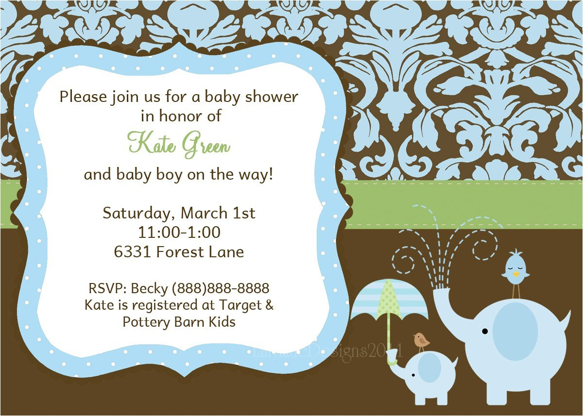 baby boy shower invitation damask