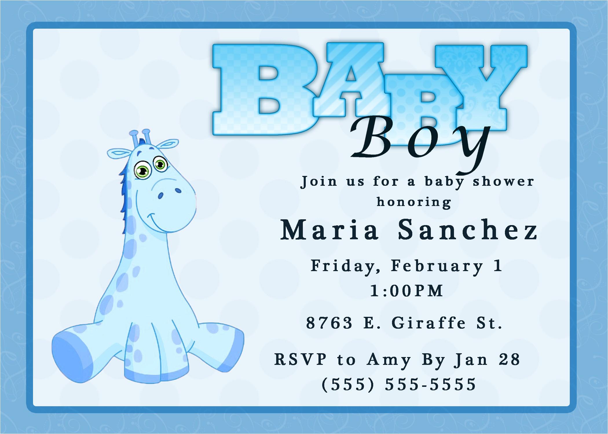 Evite Baby Boy Shower Invitations Giraffe Boy Baby Shower Invitation