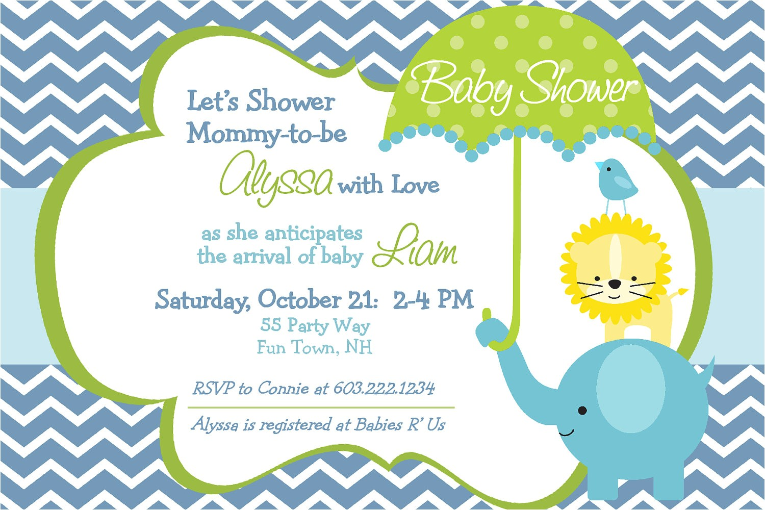 elephant baby shower invitation chevron
