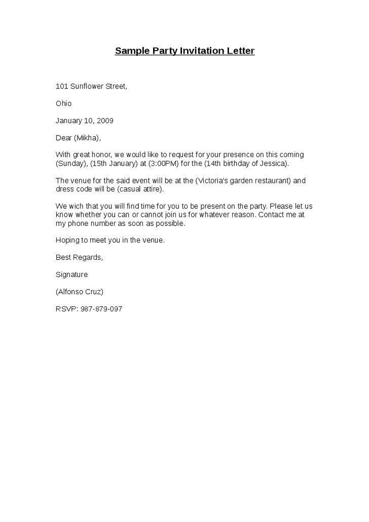post party letter template 299761