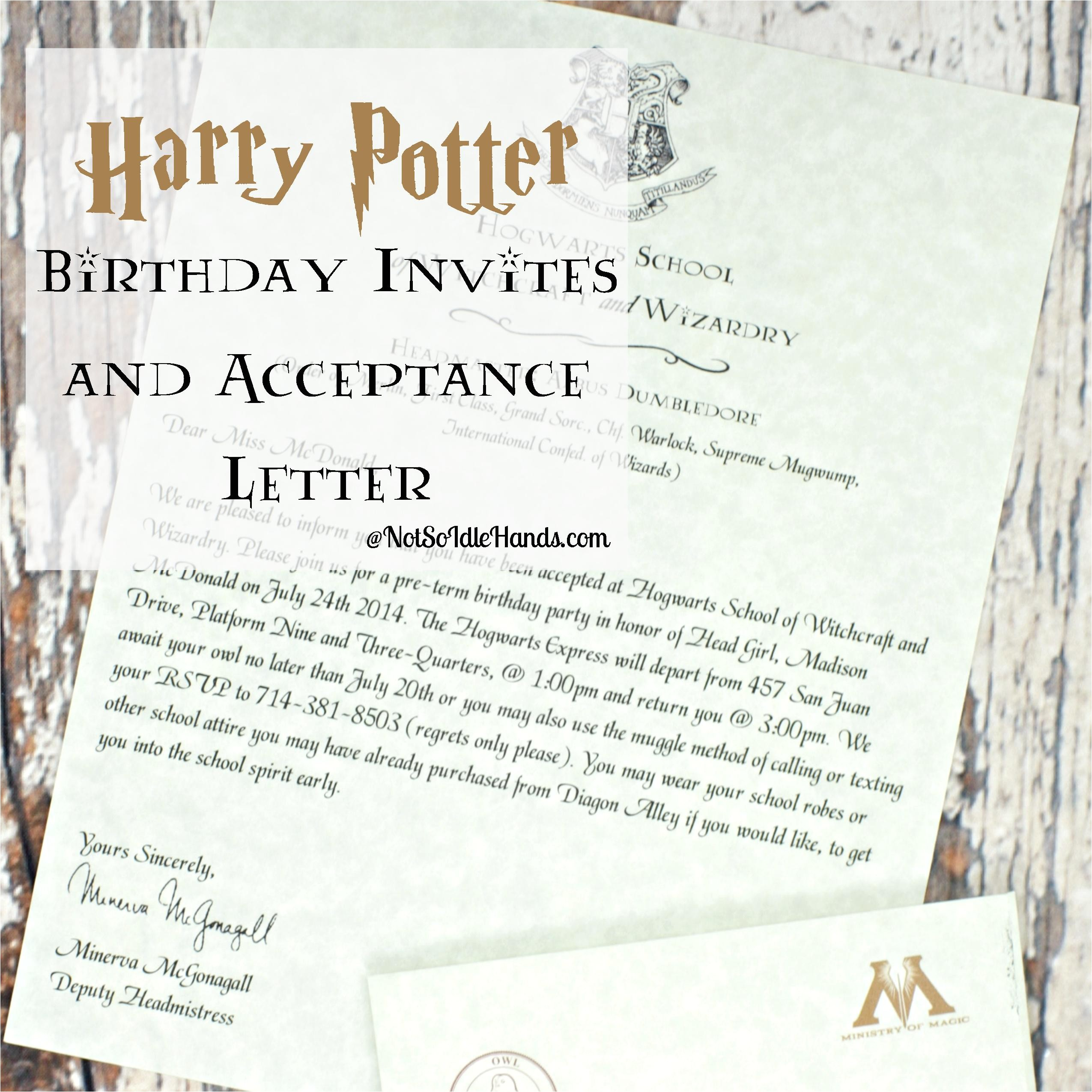 harry potter birthday invitations and authentic acceptance letter and party part 1