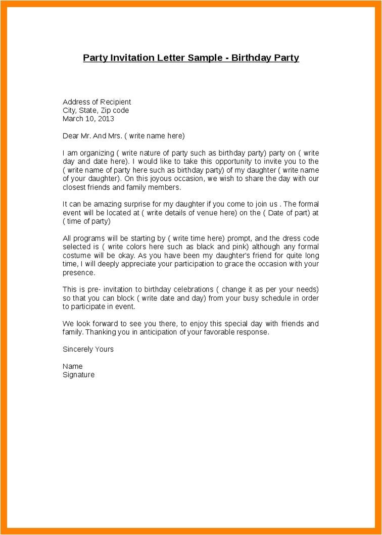 invitation letter for birthday
