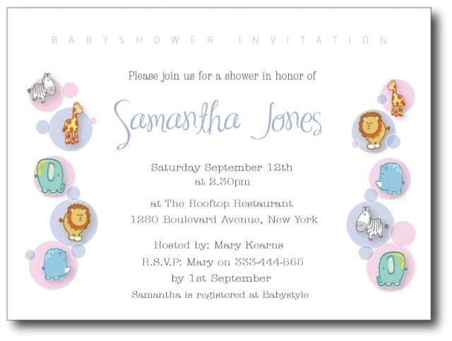 baby shower sample invitations