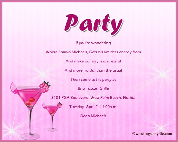 adult party invitation wording