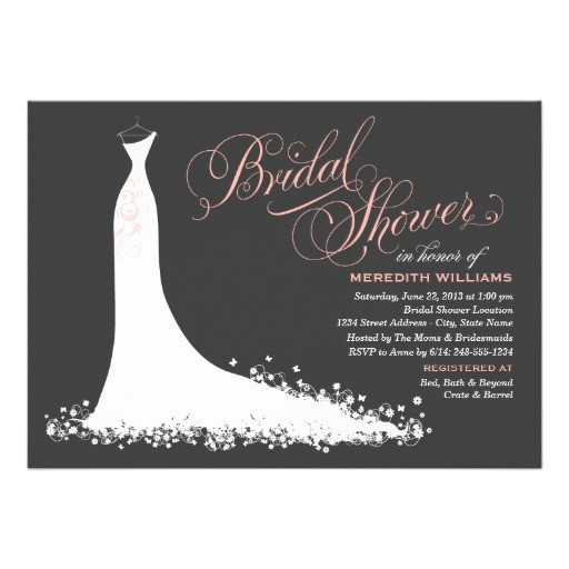 bridal shower invitation elegant wedding gown