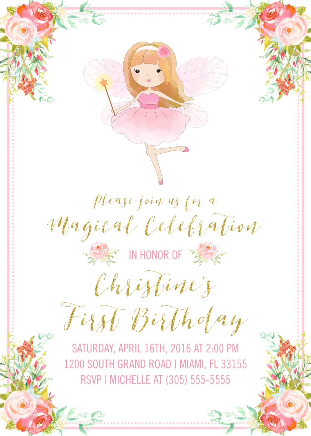 pink and gold fairy girl birthday