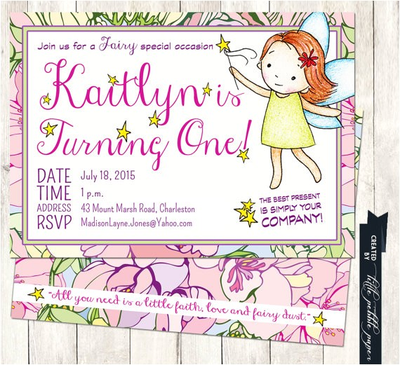 fairy birthday invitation fairy themed